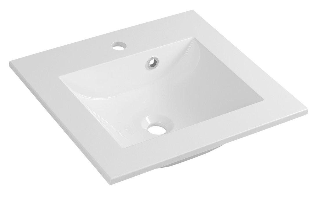 YUKON umyvadlo 50x45cm, litý mramor, bílá
