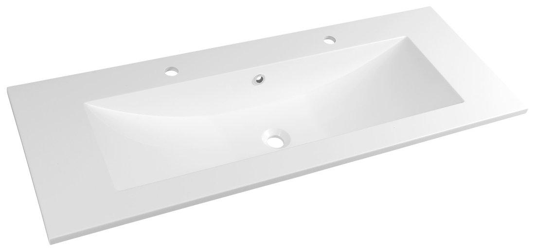 YUKON umyvadlo 120x45cm, 2 otvory pro baterii, litý mramor, bílá