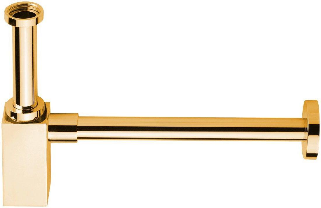 Umyvadlový sifon 1'1/4, odpad 32 mm, hranatý, zlato