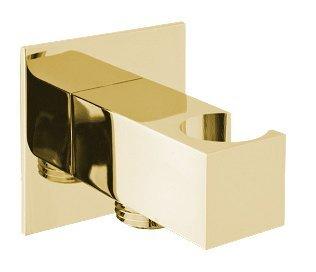 Držák sprchy hranatý, pevný, s vyústěním, zlato