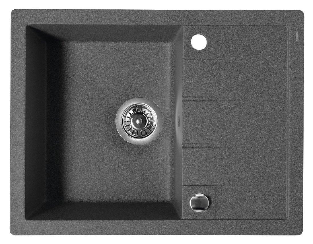 Dřez granitový vestavný s odkapávací plochou, 65x50 cm, černá