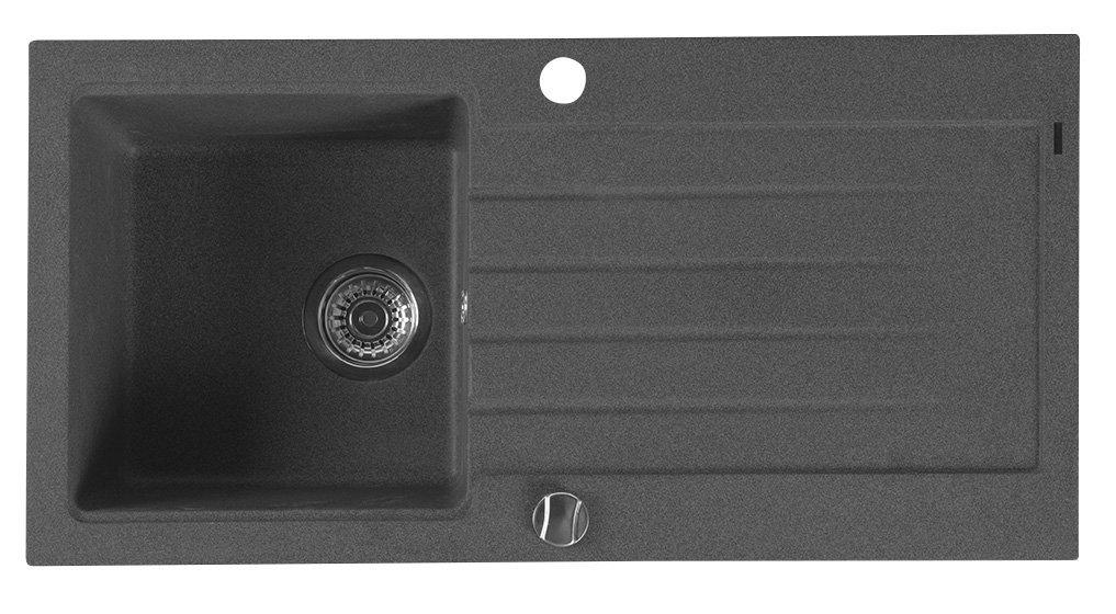 Dřez granitový vestavný s odkapávací plochou 86x43,5 cm, černá