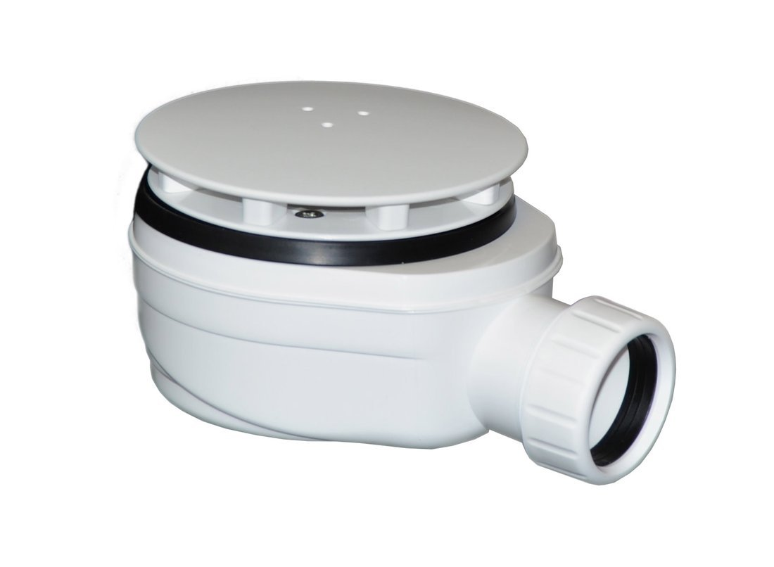 Vaničkový sifon, průměr otvoru 90 mm, DN40, nízký, krytka bílá