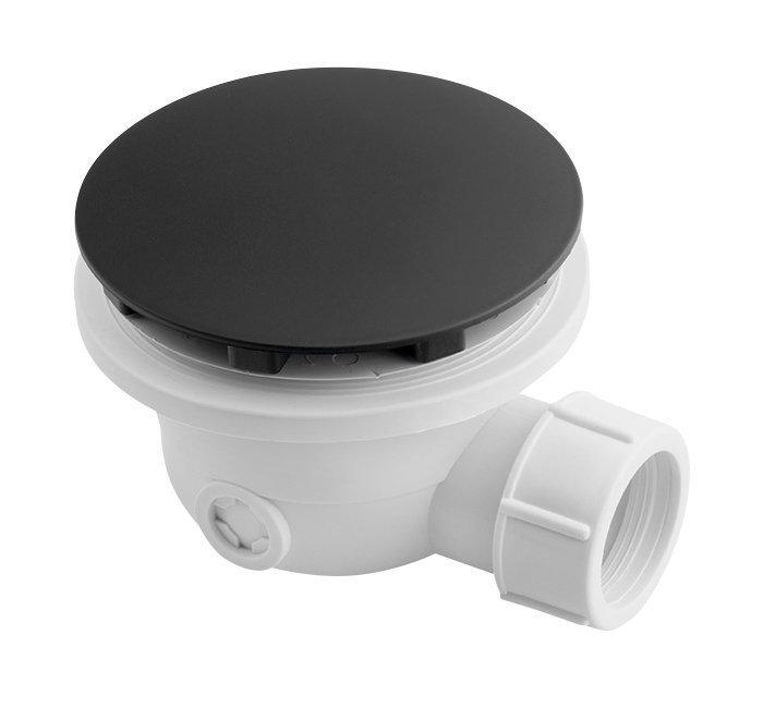 Vaničkový sifon, průměr otvoru 90 mm, DN40, krytka černá mat