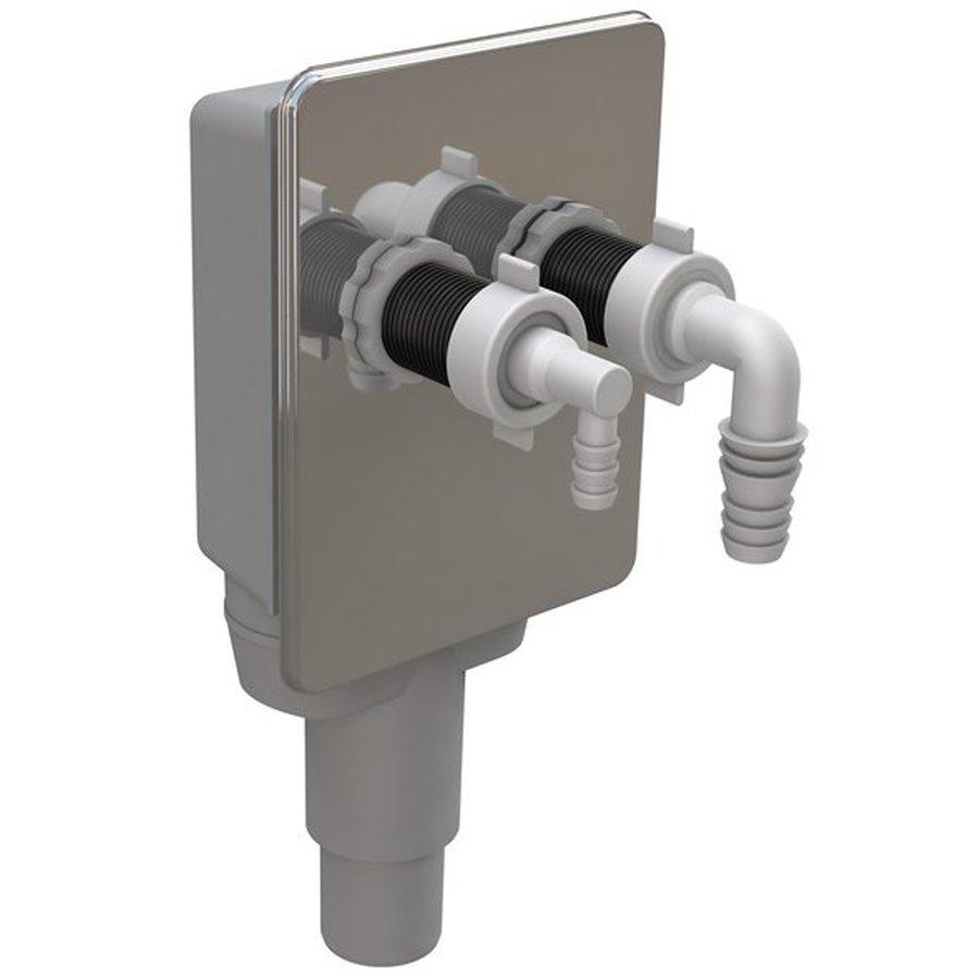 Podomítkový sifon pro pračku a sušičku, 40/50mm, nerez