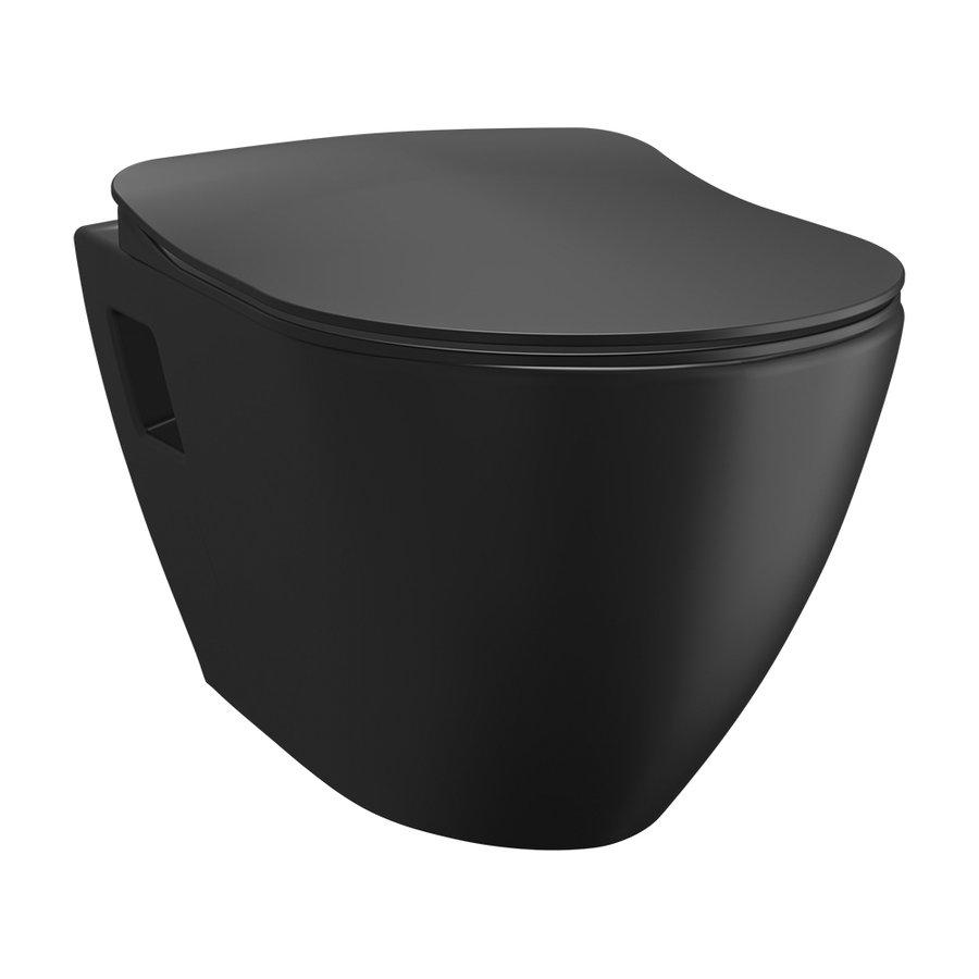 PAULA závěsná WC mísa, 35,5x50cm, černá mat