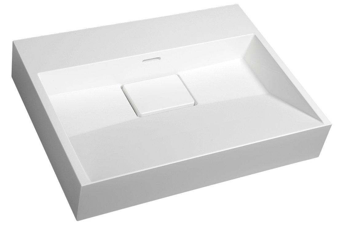 AMUR umyvadlo 60x45 cm, litý mramor, bez otvoru pro baterii, bílá
