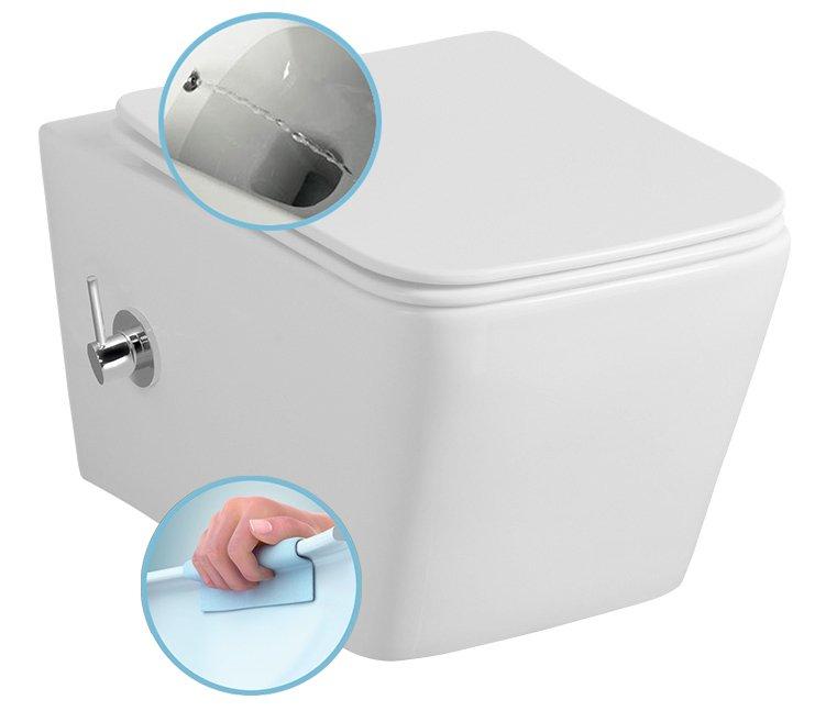 PORTO závěsná WC mísa s bidetem, Rimless, 36x52 cm, bílá