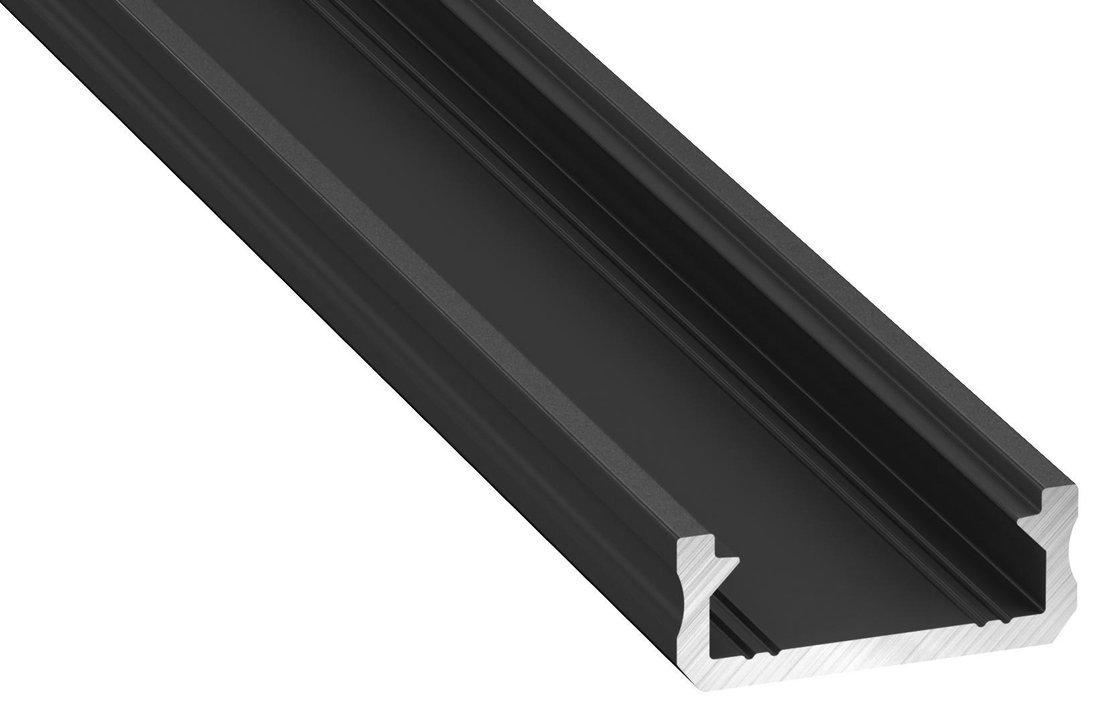 LED U profil 16x6mm, eloxovaný hliník, černá, 2m