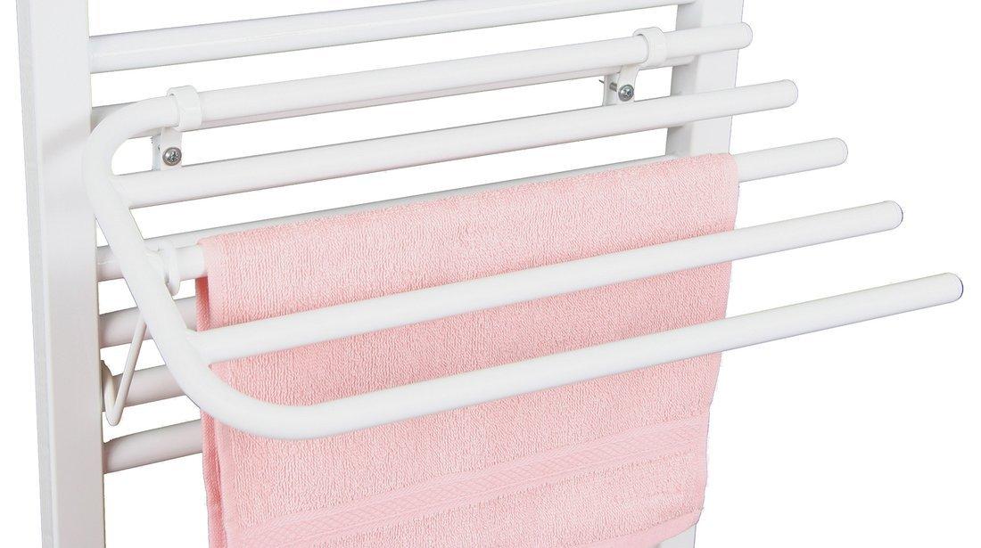 Sušák 4 ručníků na otopná tělesa, univerzální upínání, délka 50cm, bílá
