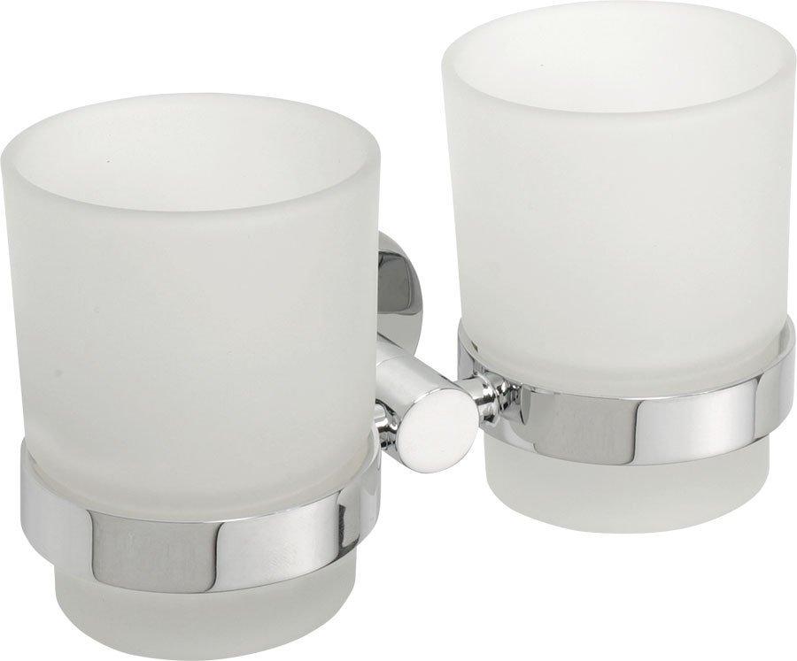 X-ROUND dvojitý držák skleniček, chrom