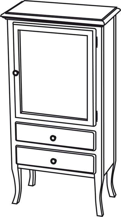RETRO skříňka 60x120x38cm, starobílá, pravá