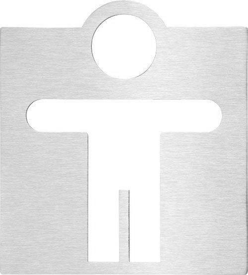 WC páni označení 120x120mm, broušený nerez