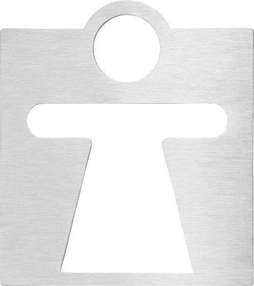 WC dámy označení 120x120mm, broušený nerez
