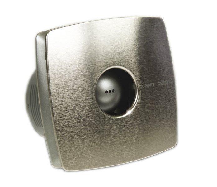 X-MART 10T koupelnový ventilátor axiální s časovačem, 15W, potrubí 100mm, nerez